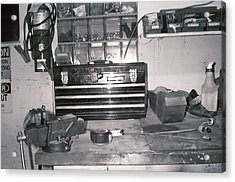 Tool Box And Clamp Work Area Acrylic Print by Floyd Smith