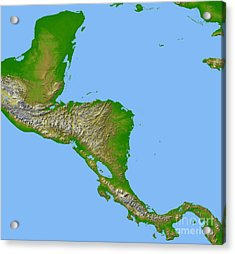 Topographic View Of Central America Acrylic Print by Stocktrek Images