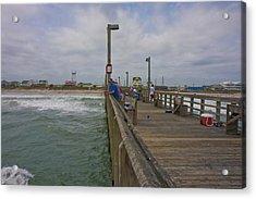Topsail Island Sc Pier Acrylic Print by Betsy Knapp