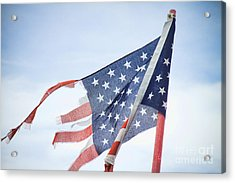 Torn American Flag Acrylic Print by James BO  Insogna
