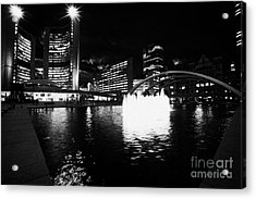 Toronto City Hall Building And Reflecting Pool In Nathan Phillips Square At Night Acrylic Print by Joe Fox