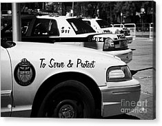 Toronto Police Squad Cars Outside Police Station In Downtown Toronto Ontario Canada Acrylic Print by Joe Fox