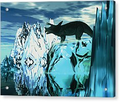 Torosaurus Dinosaur In An Icy Landscape Acrylic Print by Victor Habbick Visions