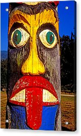 Totem Pole With Tongue Sticking Out Acrylic Print by Garry Gay