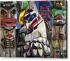 Totem Poles In The Pacific Northwest Acrylic Print