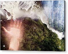 Touching The Falls Acrylic Print by Sara Roger