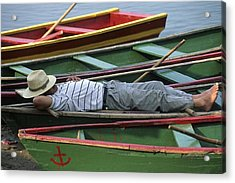 Tour Boat Guide Naps Amidst Rowboats Acrylic Print by Raymond Gehman
