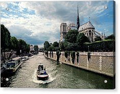 Acrylic Print featuring the photograph Tour Boat Passing Notre Dame by Dave Mills