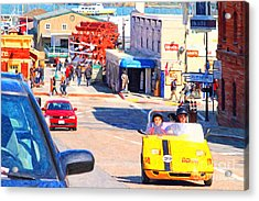 Touring San Fracisco Fishermans Wharf In An Electric Gocar . 7d14100 Acrylic Print by Wingsdomain Art and Photography