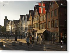 Tourists Walking In A Street In Bergen Acrylic Print by Michael Melford