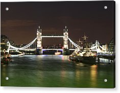 Tower Bridge And Hms Belfast At Night Acrylic Print by Jasna Buncic