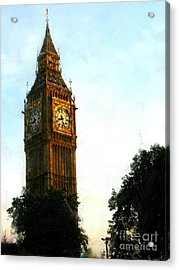 Tower Clock Acrylic Print by Susan Holsan