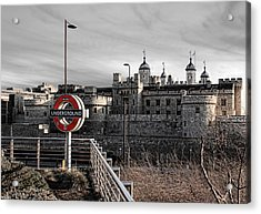 Tower Of London With Tube Sign Acrylic Print by Jasna Buncic