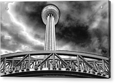 Tower Of The Americas San Antonio In Chrome Acrylic Print