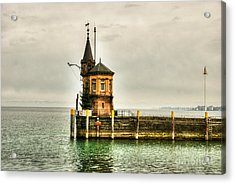 Tower On Lake Acrylic Print by Syed Aqueel