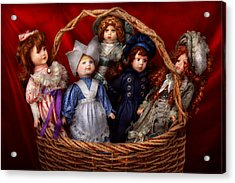 Toy - Dolls - A Basket Of Victorian Dolls  Acrylic Print by Mike Savad