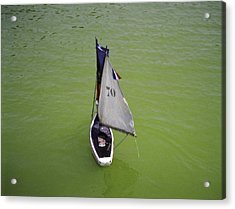 Toy Sailboat On Pond Acrylic Print by Donna Munro