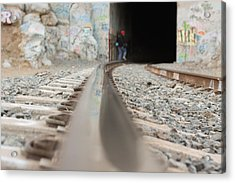 Track Low Down Acrylic Print by Denice Breaux