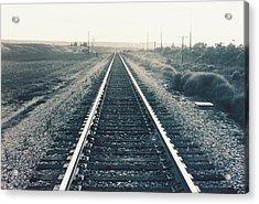 Tracks Bw Acrylic Print by Trent Mallett