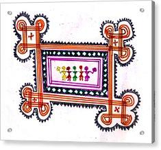 Tradition Art-aunties In Rangoli Acrylic Print by Poornima M
