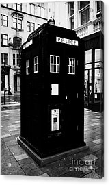 traditional blue police callbox in merchant city glasgow Scotland UK Acrylic Print by Joe Fox