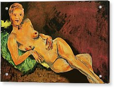 Traditional Modern Female Nude Reclining Acrylic Print