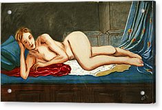 Traditional Modern Female Nude Reclining Odalisque After Ingres Acrylic Print by G Linsenmayer