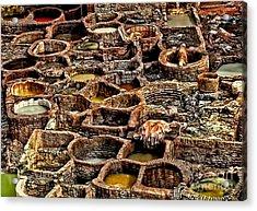 Traditional Moroccan Leather Tannery  Acrylic Print by Alexandra Jordankova