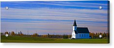 Traditional Prairie Steeple Church In Acrylic Print by Corey Hochachka