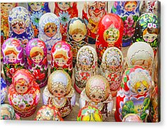 Traditional Russian Nested Dolls For Sale Acrylic Print by Travelif