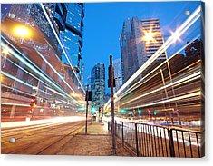Traffic Night Acrylic Print by Cozyta