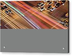 Traffic Trails Of Intersection Acrylic Print by SJ. Kim