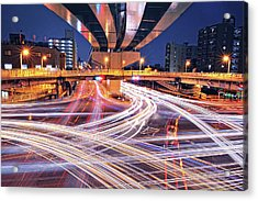 Traffic Trails Acrylic Print by Y2-hiro