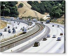 Train And Motorway, California, Usa Acrylic Print by Martin Bond