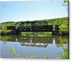 Acrylic Print featuring the photograph Train And Trestle by Sherman Perry