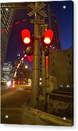 Train Crossing Lights At Dusk Acrylic Print by Sven Brogren