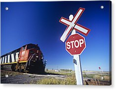 Train Passing Railway Crossing Acrylic Print by Dave Reede