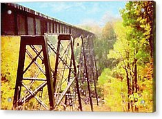 Acrylic Print featuring the digital art Train Trestle by Phil Perkins