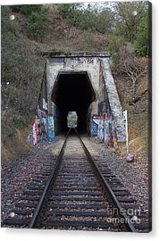Train Tunnel At The Muir Trestle In Martinez California . 7d10220 Acrylic Print by Wingsdomain Art and Photography