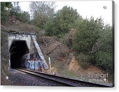 Train Tunnel At The Muir Trestle In Martinez California . 7d10229 Acrylic Print by Wingsdomain Art and Photography