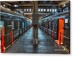 Trains - Two Rail Cars In Roundhouse Acrylic Print by Dan Carmichael