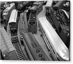 Acrylic Print featuring the photograph Trains 2 Bw by Elizabeth Sullivan