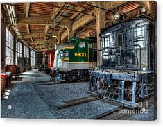 Trains - Engines Railcars Caboose In The Roundhouse Acrylic Print by Dan Carmichael