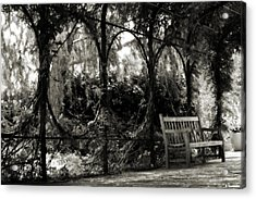 Tranquil Leaf Covered Walkway In Black And White Acrylic Print