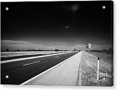 Trans Canada Highway 1 And Yellowhead Route In Manitoba Canada Acrylic Print by Joe Fox