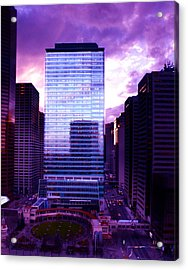 Transalta Building Purple Acrylic Print by JM Photography