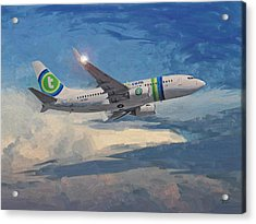 Acrylic Print featuring the painting Transavia Boeing 737 No2 by Nop Briex