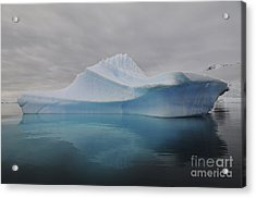 Translucent Blue Iceberg Reflection Acrylic Print by Mathieu Meur