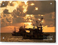 Trawlers  Acrylic Print by Gary Bridger