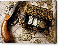 Treasure Box With Old Pistol Acrylic Print by Garry Gay